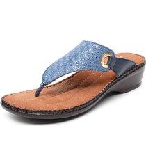 sandalia cuero azul exs