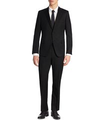 saks fifth avenue men's collection by samuelsohn modern-fit wool suit - black - size 46 l