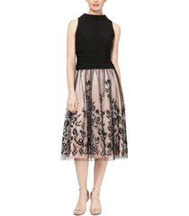 sl fashions embroidered-skirt fit & flare dress