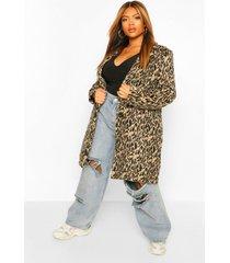 plus nepwollen luipaardprint jas, brown