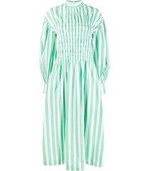 ganni shirred striped dress - white