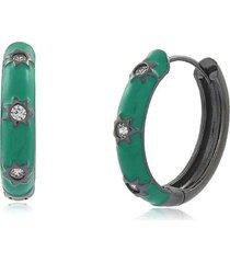 brinco viva jolie argola resina estrela verde água - tricae
