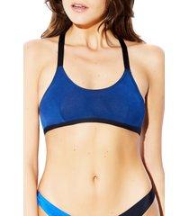women's hauty microfiber bralette, size large - blue