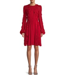 embellished ruffle drape dress