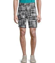 vintage 1946 men's acid-wash patchwork shorts - black white - size 34
