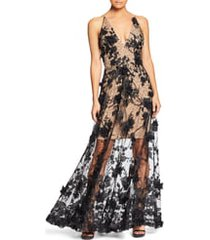 women's dress the population sidney deep v-neck 3d lace gown, size small - black
