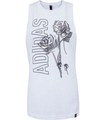 camiseta regata adidas floral tank - feminina - branco