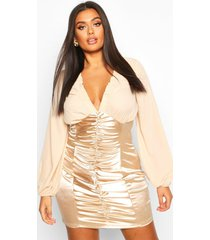 plus chiffon contrast satin ruched mini dress, gold