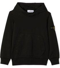 stone island black cotton hoodie
