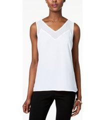 inc contrast sheer-trim top, created for macy's