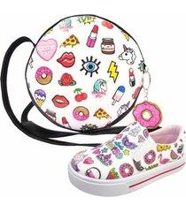 kit infantil bolsa + tênis stickers, magicc kids feminino - feminino