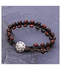 jasper and leather beaded bracelet, 'pa sak shadows' (thailand)