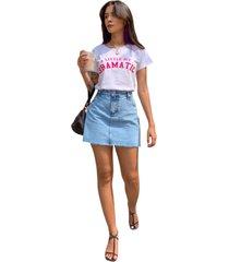 blusa in love t-shirt dramatica branca - branco - feminino - algodã£o - dafiti