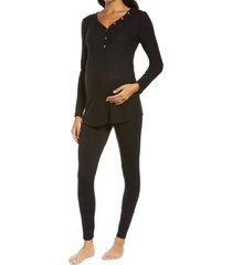women's belabumbum cozy maternity/nursing henley pajamas, size medium - black
