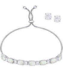 simulated opal slider bracelet & cubic zirconia stud earrings set in fine silver-plate, october birthstone