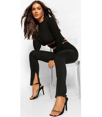 rib skinny broek met ritszoom, zwart