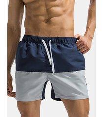 short da spiaggia estivo per uomo con cordoncino color dry color patchwork ad asciugatura rapida