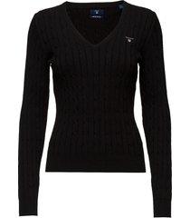 stretch cotton cable v-neck stickad tröja svart gant