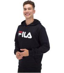 blusão de moletom com capuz fila letter new - masculino - preto