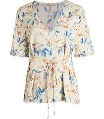 floral corset-front boyfriend blouse