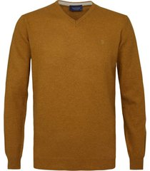 profuomo pullover bruin oranje v-hals
