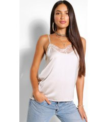 tall lace trim satin cami top, champagne