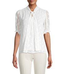 calvin klein women's mockneck short-sleeve top - cream - size xs