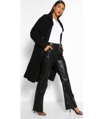 faux fur teddy trench coat, zwart