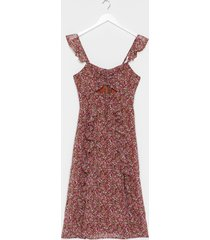 womens frilly midi dress in grunge floral - brown