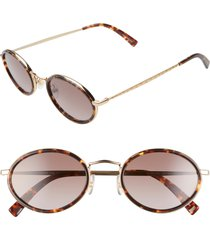 women's rebecca minkoff gloria4 51mm round sunglasses - dark havana/ brown/ gold