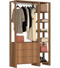 guarda roupa closet 2 peças c/ 1 cabideiro marrom