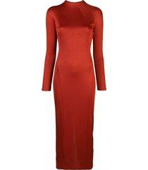 fleur du mal slinky mid-length dress - red