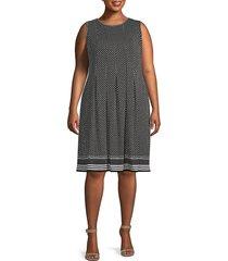 max studio women's plus dot-print pleated knee-length dress - red - size 3x (22-24)