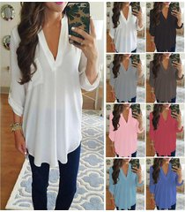 s xxxxxl plus size women's fashion chiffon shirt v neck long sleeve loose tops t