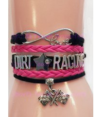 dirt racing gift charm bracelet – personalized dirt race wrap bracelet – ladies