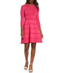 women's vince camuto mix stitch pointelle fit & flare dress, size medium - pink