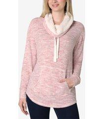 ultra flirt juniors' faux-sherpa lined sweatshirt