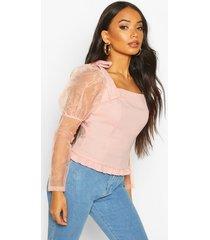 petite volume sleeve bow detail blouse, blush