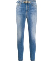 pinko mid rise belted skinny jeans - blue