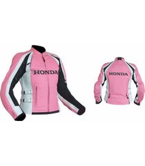 womans motorbike biker style pink leather jacket all size safety pads for honda