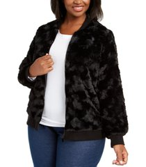 alfred dunner plus size well red faux-fur bomber jacket