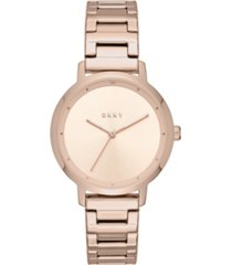 dkny women's modernist rose gold-tone stainless steel bracelet watch 32mm, created for macy's