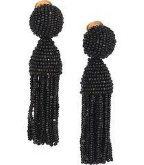 short beaded tassel clip-on earrings