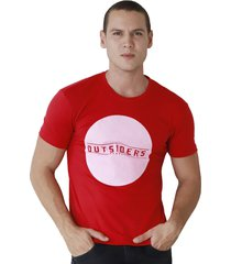 camiseta de hombre marfil slim fit algodon out rojo