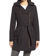 women's via spiga belted water resistant hooded trench coat, size large - black
