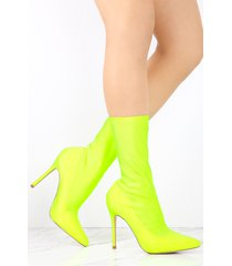 stretchy pointy toe high heel booties mid calf sock boots - neon yellow