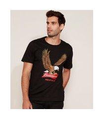 camiseta masculina budweiser águia manga curta gola careca preta