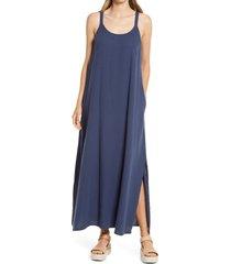 women's caslon textured cotton sleeveless maxi dress, size medium - blue