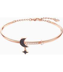 bracciale rigido swarovski symbolic moon, nero, placcato oro rosa