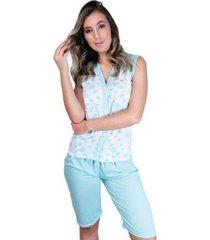 pijama pescador aberto botões adulto curto feminino